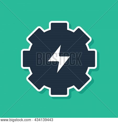 Blue Gear And Lightning Icon Isolated On Green Background. Electric Power. Lightning Bolt Sign. Vect