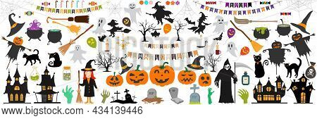 Big Set Of Halloween Elements, With Text, Pumpkins, Ghosts, Monsters, Zombie, Death, Candy, Balloons