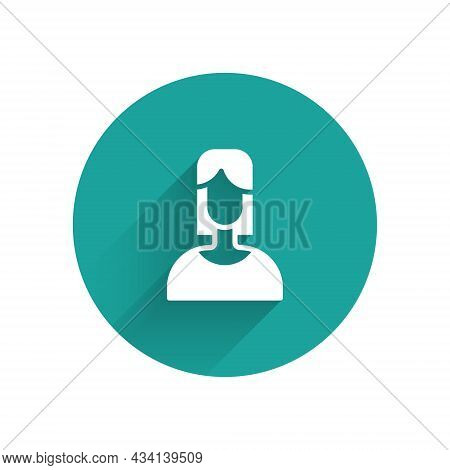 White Female Icon Isolated With Long Shadow Background. Venus Symbol. The Symbol For A Female Organi