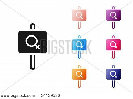 Black Female Movement, Feminist Activist With Banner And Placards Icon Isolated On White Background.