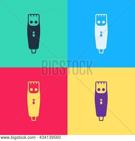 Pop Art Electrical Hair Clipper Or Shaver Icon Isolated On Color Background. Barbershop Symbol. Vect