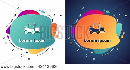 White Forklift Truck Icon Isolated On White And Blue Background. Fork Loader And Cardboard Box. Carg