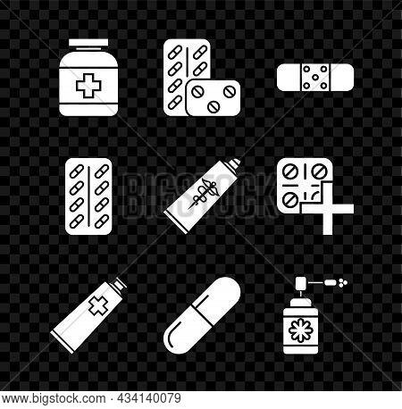 Set Medicine Bottle, Pills Blister Pack, Bandage Plaster, Ointment Cream Tube Medicine, Pill Or Tabl