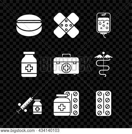 Set Medicine Pill Or Tablet, Crossed Bandage Plaster, Iv Bag, Medical Syringe With Needle Vial Ampou