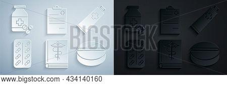 Set Medical Book, Ointment Cream Tube Medicine, Pills Blister Pack, Medicine Pill Or Tablet, Clipboa