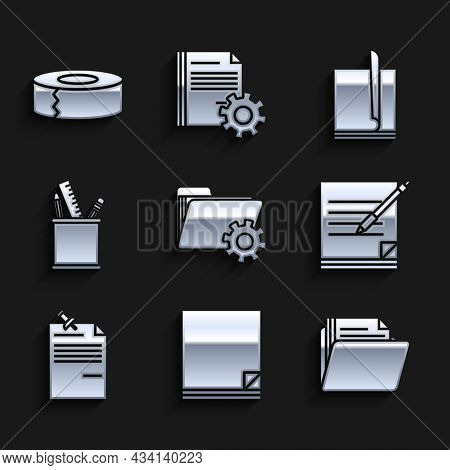 Set Folder Settings With Gears, File Document, Document Folder, Blank Notebook And Pen, Note Paper P