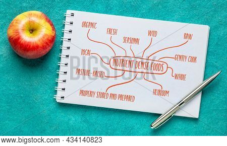 attributes of nutrient dense foods infographics - handwriting and sketch in a spiral notebook, healthy eating concept