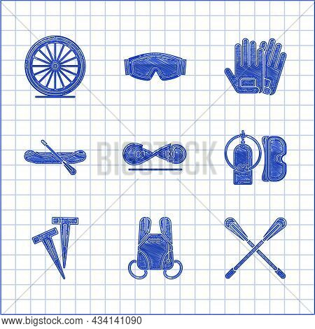 Set Skateboard Trick, Parachute, Crossed Paddle, Diving Mask And Aqualung, Pegs For Tents, Rafting B