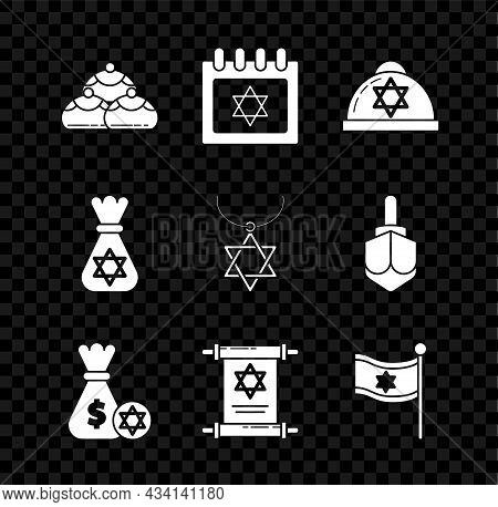 Set Jewish Sweet Bakery, Calendar With Star Of David, Kippah, Money Bag And Coin, Torah Scroll, Flag