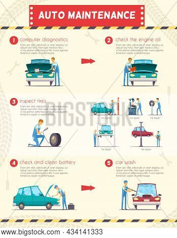 Auto Maintenance Diagnostics And Repair  Service Retro Cartoon Infographic Poster With Engine Oil An