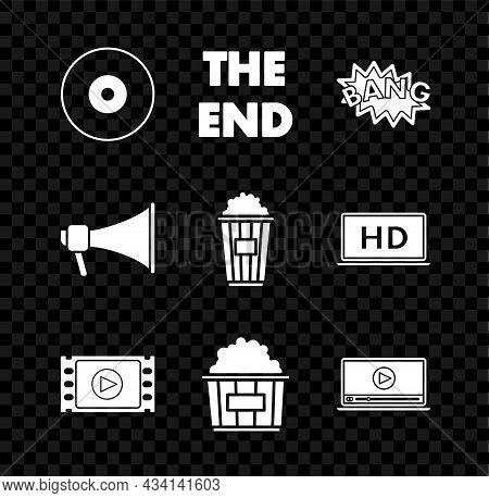 Set Cd Or Dvd Disk, The End Handwritten Inscription, Bang Boom Text Speech Bubble Balloon, Play Vide