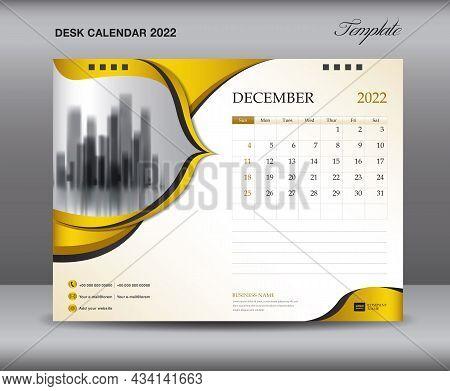 Calendar 2022 Template On Gold Backgrounds Luxurious Concept, December Template, Desk Calendar 2022