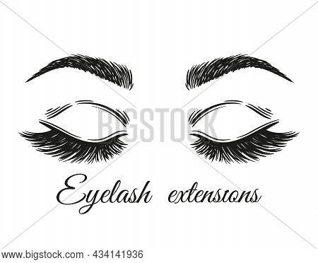 Eyelash Extension. Long Lashes And Eyebrows Icon. Closed Woman Eyes Closeup. Makeup Volume Mascara.