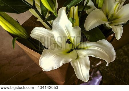 A Huge White Lily In A Bouquet With Large Buds, Wrapped In Rough Paper In A Glass Vase On A Ceramic
