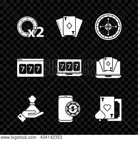 Set Casino Chips, Playing Card With Diamonds, Roulette Wheel, Hand Holding Money Bag, Online Poker T