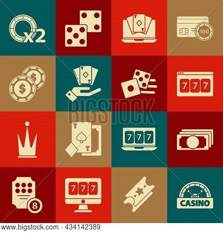 Set Casino Signboard, Stacks Paper Money Cash, Online Slot Machine With Lucky Sevens Jackpot, Poker