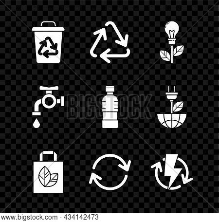 Set Recycle Bin With Recycle Symbol, Light Bulb Leaf, Paper Shopping Bag, Refresh, Recharging, Water