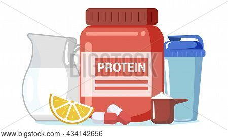 Whey Protein Casein Bcaa Creatine Sport Nutrition Edible Oil Isolated On White Background Proteins F