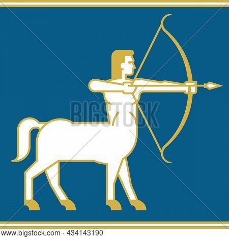 Centaur Or Sagittarius Archer Vector Illustration.\nhalf Man, Half Horse With Bow And Arrow Simplifi