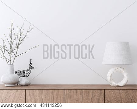 Empty Interior White Paint Wall With Wooden Cabinet 3d Render Decorate With White Ceramic Vase And M