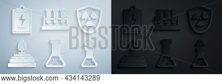Set Test Tube And Flask Chemical, Radioactive In Shield, Alcohol Or Spirit Burner, And Laboratory Cl