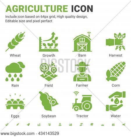 Agriculture Icon Set Design Flat Style Isolated On White Background. Vector Icon Growth, Farmer, Fie