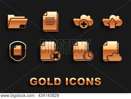 Set Delete File Document, Cloud Upload, Storage Text, Document With Clock, Protection Concept, Add C