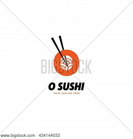 Letter O Sushi With Chopstick Japanese Restaurant Logo Icon