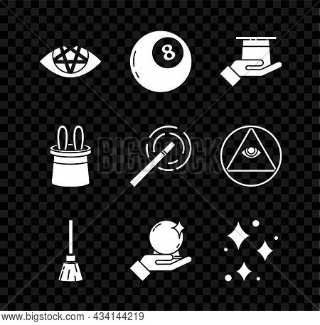 Set Pentagram, Magic Ball Of Predictions, Magician Hat In Hand, Witches Broom, Sparkle Stars With Ma