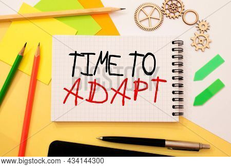 Writing Text Showing Time To Adapt. Word Text Know Your Rights On White Paper Card, Red And Black Le