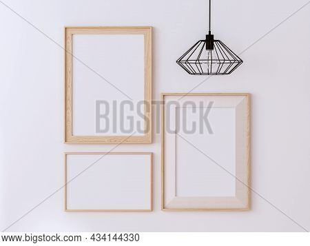 Variety Style Of Blank Wooden Picture Frame On White Paint Wall 3d Render Decorate With Black Metal