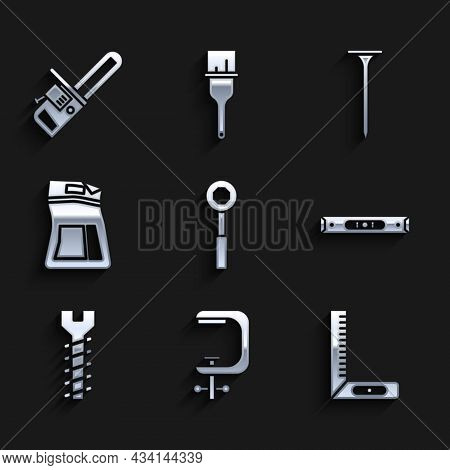Set Wrench Spanner, Clamp And Screw Tool, Corner Ruler, Construction Bubble Level, Metallic, Cement