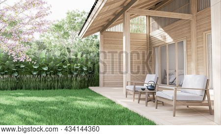 Wooden Terrace With Green Lawn 3d Render Decorate With White Fabric Chair