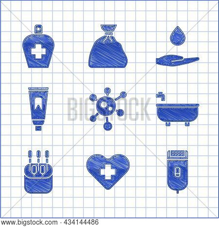 Set Virus, Heart With A Cross, Electrical Hair Clipper Or Shaver, Bathtub, Cotton Swab For Ears, Tub