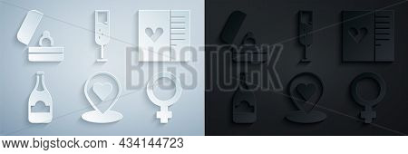 Set Location With Heart, Postcard, Champagne Bottle, Female Gender Symbol, Glass Of Champagne And We