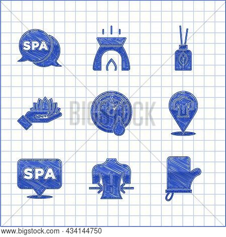 Set Sauna Thermometer, Massage, Mittens, Spa Salon, Lotus Flower, Aroma Diffuser And Icon. Vector