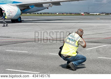 Photographers Taking Pictures Of The Airplanes Taking Off At Airport: Abakan, Russia - August 08, 20