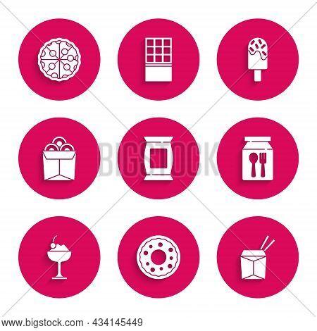 Set Bag Or Packet Potato Chips, Donut, Asian Noodles And Chopsticks, Online Ordering Delivery, Ice C