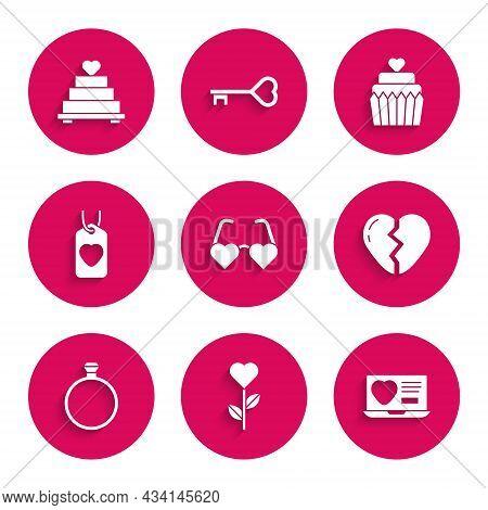 Set Heart Shaped Love Glasses, In Flower, Dating App Online, Broken Heart, Diamond Engagement Ring,
