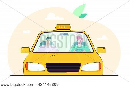 Cartoon Taxi Driver Talking To Passenger Behind Windscreen. Male Characters Driving In Yellow Car Fl