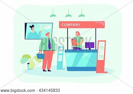 Company Representative Clerk Talking With Businessman. Flat Vector Illustration. Girl Behind Expo Co