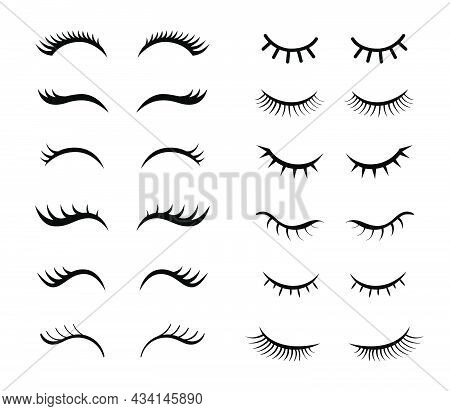 Eyelashes For Girls Simple Vector Illustrations Set. Collection Of Mascara Styles For Makeup, Closed