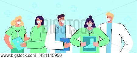Group Of Cartoon Doctors In Masks. Team Of Professional Physicians, Men And Women In Uniform, Hospit
