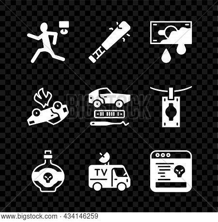 Set Murder, Baseball Bat With Nails, Bloody Money, Poison In Bottle, Tv News Car, System Bug, Burnin