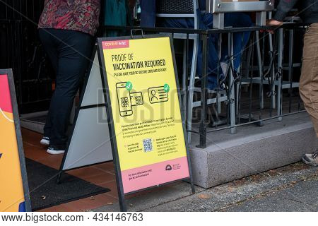 Vancouver, Canada -september 19,2021: View Of Sign At The Entrance Of Local Restaurant Bc Vaccine Ca