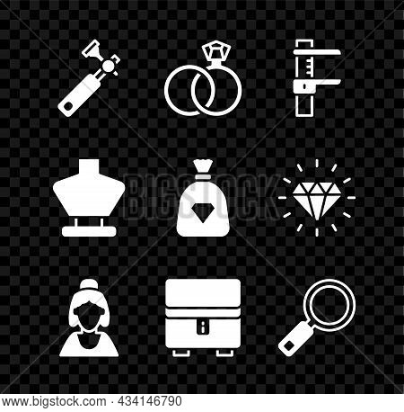 Set Jewelers Lupe, Wedding Rings, Calliper Or Caliper And Scale, Consultant Of Jewelry Store, Jewelr