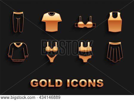 Set Swimsuit, Undershirt, Skirt, Sweater, Bra, Leggings And T-shirt Icon. Vector