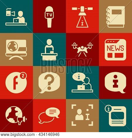 Set Information, News, Satellite, Breaking News, And Drone Icon. Vector