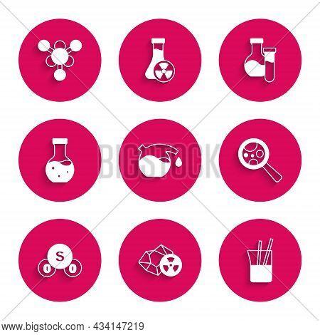 Set Test Tube, Radioactive, Laboratory Glassware, Microorganisms Under Magnifier, Sulfur Dioxide So2