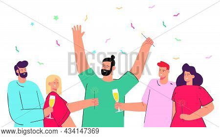 Happy Group Of People Celebrating Together. Flat Vector Illustration. Men And Women With Sparklers,
